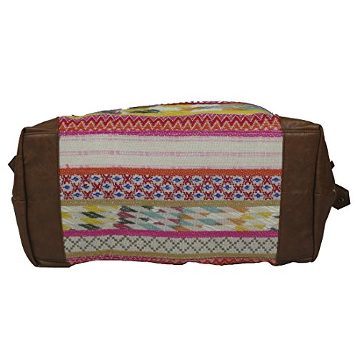 Raj Pink Multi Ethnic Print Duffle Bag Weekender with Leather by Raj Imports (Image #3)