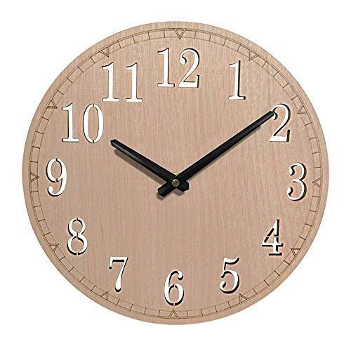Giftgarden 12-inch Silent Wall Clock Non-Ticking Quartz Wood Clocks, Perfect Round Home Wall Craft for Bedroom, Living Room, Kitchen Review