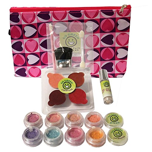 Go Green Make Up Kit - Real Organic Make Up Set for Girls, Includes Lipstick, Blush, Eye Shadow, Lip Gloss, and Brush Set, Perfect for Play Dates, Parties or Perfect for Summer Activities