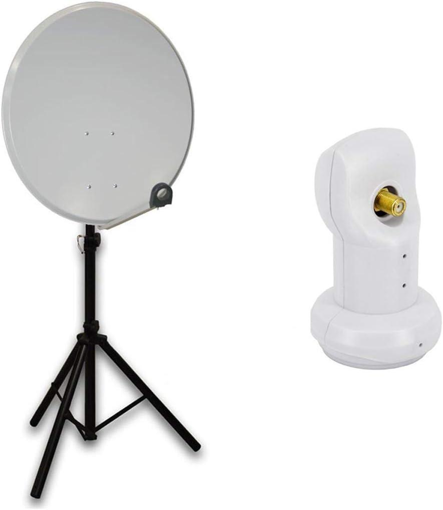 PremiumX mobile camping HD satélite (Antena Parabólica 60 cm Gris Claro (Antena Digital con skyre V Single LNB 4 K + Soporte Trípode (Incluye 3 x de ...