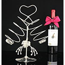 FW Plated dual supported creative art spiral style wine rack stainless steel wine rack