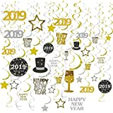 GOER 31 Pcs 2019 New Year Supplies,Hanging Swirls for New Year's Eve Party Decorations