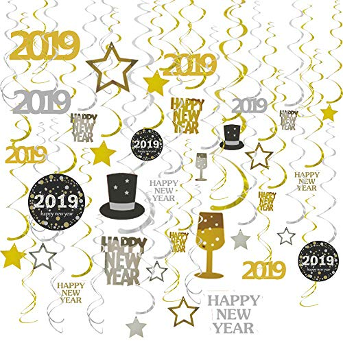 GOER 31 Pcs 2019 New Year Supplies,Hanging Swirls for New Year's Eve Party Decorations -