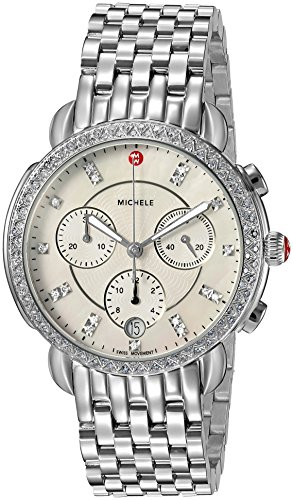 Michele Sidney One Hundred Seventeen Diamonds Swiss Chronograph Mother of Pearl Dial Silver Tone Women's Watch MWW30A000001 ()