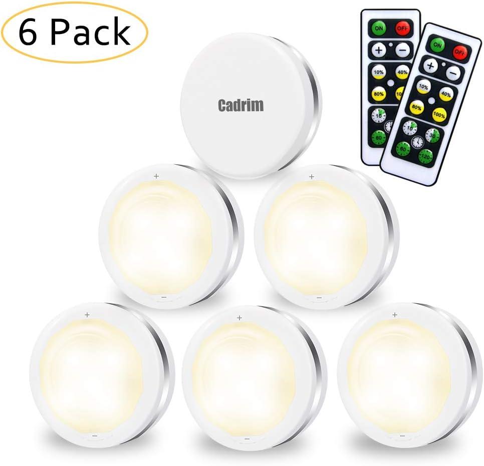 Luces para Gabinetes LED, Cadrim 6 Packs Luces Nocturnas LED Inalámbricas con Dos Remoto, Luces de Armarios Regulables,Luces que Funcionan con Baterías (no Incluidas) para Iluminación de Armarios etc
