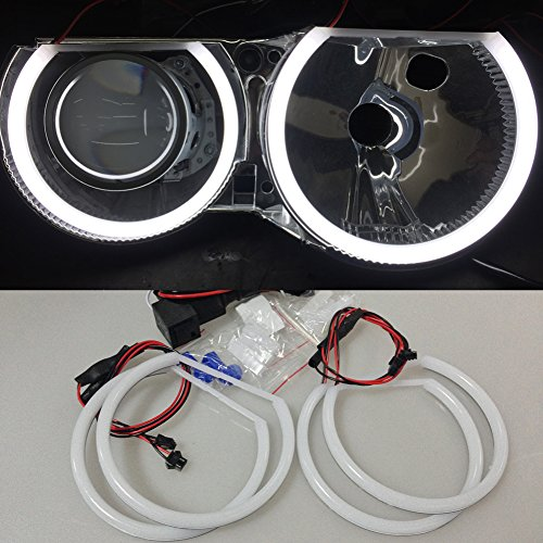 - Csslyzl White 6500K Halo Rings Cotton Light SMD LED Angel Eyes Halo Rings For BMW E46 3 Series Non Projector (2X 146mm+2X 131mm)