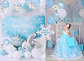 Funcube Snowflake Birthday Party Decorations With Happy Birthday Banner Diy Cake Toppers Frozen Blue White Confetti Latex Balloons For Girls Womens Birthday Baby Shower Party Backdrop Amazon Com Au Home