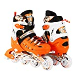 Scale Sports Kids Adjustable Inline Roller Blade Skates Orange Small Sizes Safe Durable Outdoor Featuring Illuminating Front Wheels 905