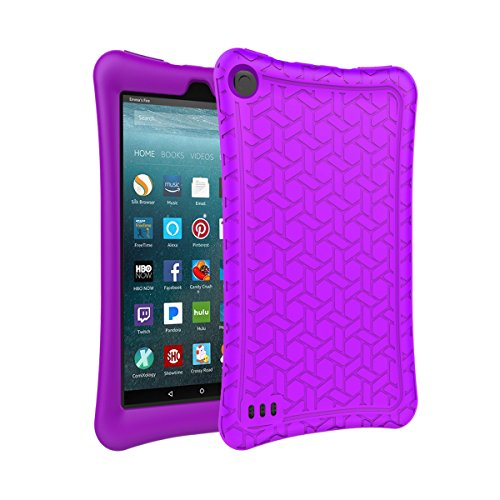 AVAWO Silicone Case for Amazon Fire 7 Tablet with Alexa (7th Generation, 2017 Release only) - Anti Slip Shockproof Light Weight Protective Cover, - 7 Purple Inch Tablet Case