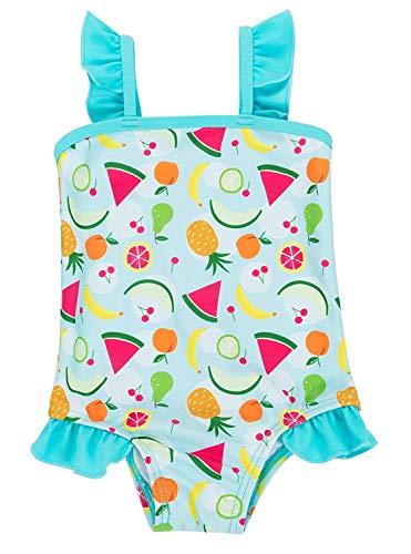 (Anwell Little Girls Ruffle One Piece Swimsuit Swimwear Blue 18-24 Months)