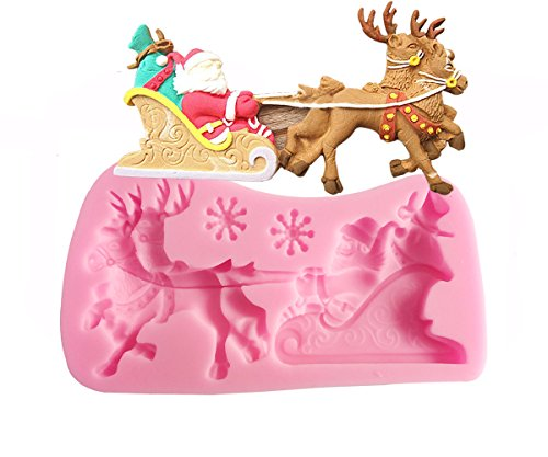 Efivs Arts Santa Claus Silicone Molds Elk deerFondant Mold Sugar Craft Tools and Gum Paste Mold Cake Decoration Tool for Christmas Party
