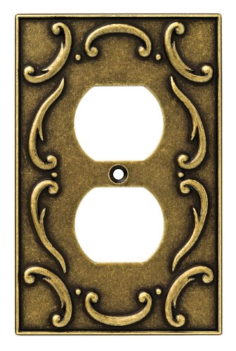 Brainerd 126346 French Lace Single Duplex Outlet Wall Plate / Switch Plate / Cover, Burnished Antique (Antique Outlet Covers)