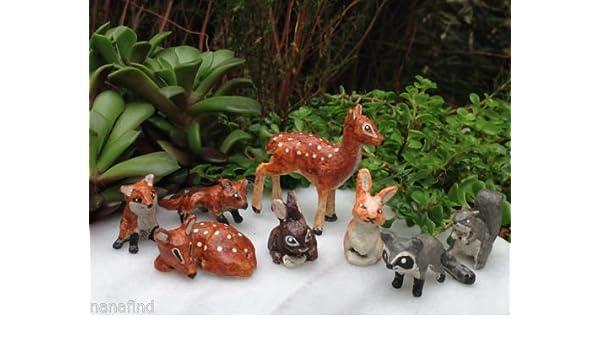 Miniature Dollhouse FAIRY GARDEN Forest Friends Hello Raccoon Accessories