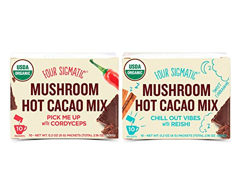 Four Sigmatic, Superfood Mushroom Hot Cacao Mix Variety Pack, Pick Me Up with Cordyceps And Chill Out Vibes With Reishi, One Box Each Of 10 Packets