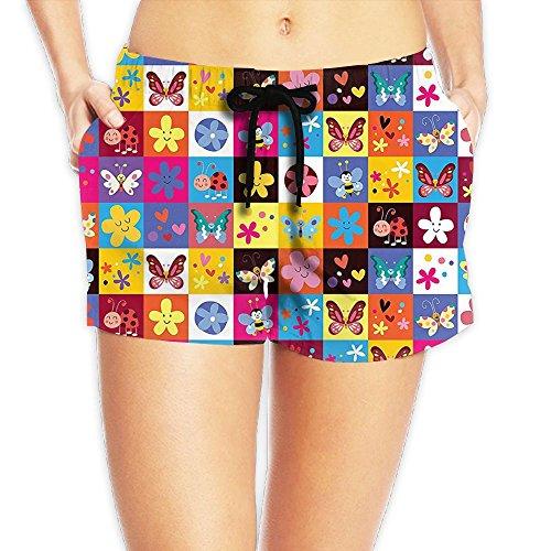 Ebuggey Women Short Beach Pant - Butterflies Beetles Flowers Bees Bugs Hearth Spring Lovely Hippie Season Shorts M