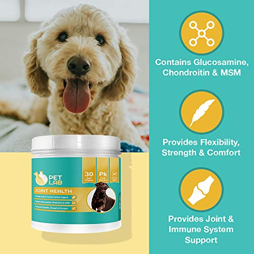 Pet Lab Hip And Joint Supplements For Dogs Glucosamine Chondroitin MSM | Chewable Supplement Dog Magnesium Chews | Hip & Joint Arthritis Pain Relief by Pet Lab (Image #3)