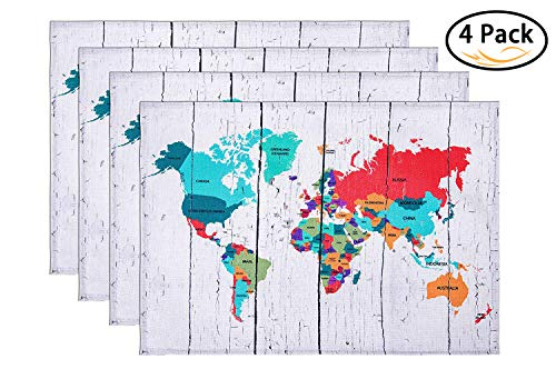 HONEYJOY Cotton Linen Placemats Set of 4 World Map Printing Textile Washable Heat-resistant Non-slip Colourfast Decorative Rectangle Dining Table Mats for Home Kitchen Office Striped Beige (13