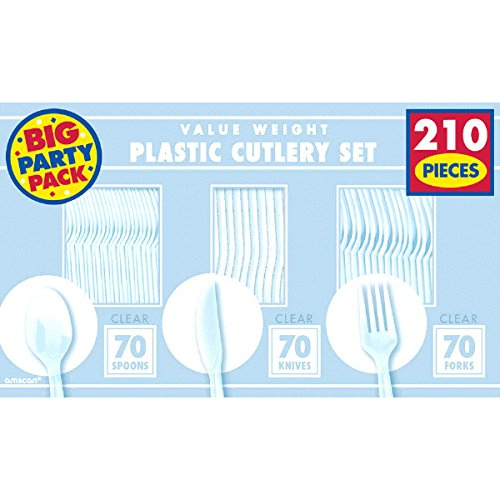 Clear Forks, Knives & Spoons, Saver Pack Of 8 (Each Includes 210 Pieces), Made from Plastic, Classic Themed Party by Amscan by Amscan