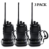 Winshope Walkie Talkie Radios Long Range With Earpiece Mic Antenna Vhf/UHF Two Way Radio 5W Handheld 2 Way Radio Reachargeble Ham Transceiver With Headsets Microphone(3 Pack)