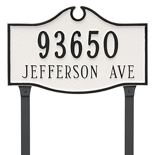 Montague Metal PCS-0052E2-L-WB Colonial Estate Two Line Address Sign Plaque with Lawn Stake, 16