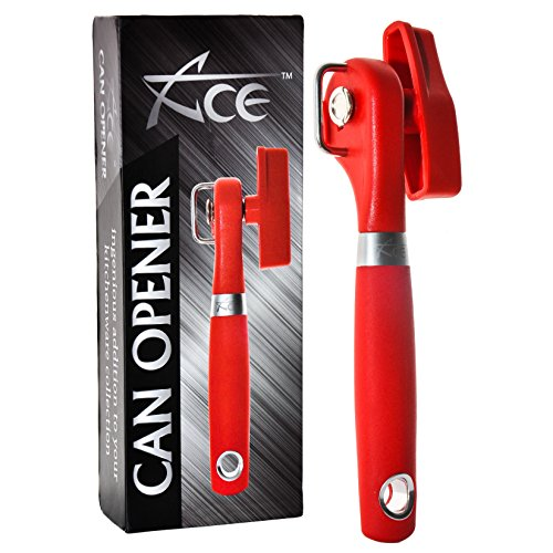 (ACE Safety Can Opener - Cut With The Smooth Edge Side Cutting Red Manual Tin Can Opener. Round Handle Designed To Fit In Your Palm. Coupled With Rubberized Knob For A Firm Grip.)