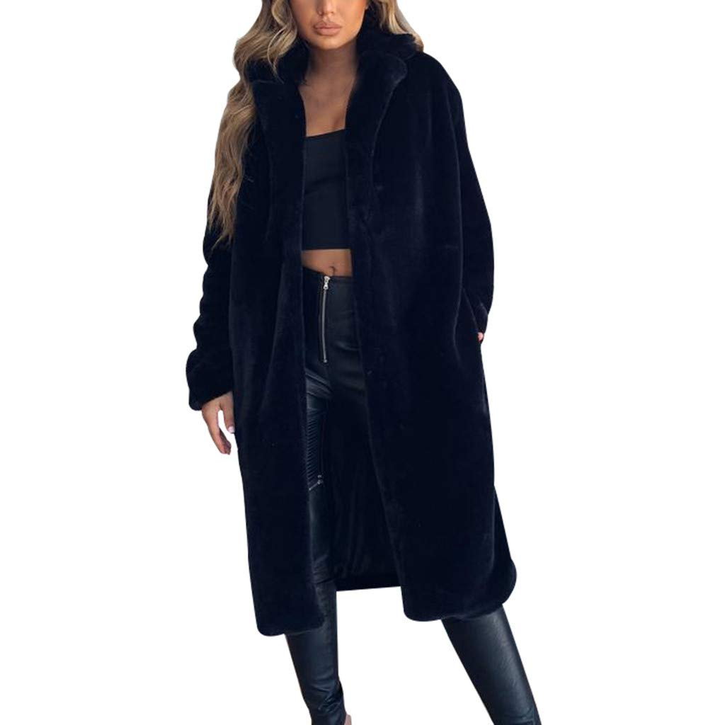 Eoeth Womens Warm Faux Fur Coat Jacket Turn Down Collar Outerwear Solid Thicken Overcoat Tunic Long Sleeve Tops Blouse Black by Eoeth