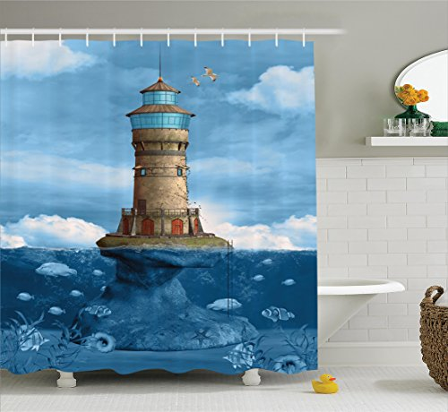 Ambesonne Lighthouse Decor Collection, Lighthouse Seagulls Birds Architecture Maritime Reef Fish Undersea Scenic, Polyester Fabric Bathroom Shower Curtain Set with Hooks, Teal Blue Ivory Green (Curtain Shower Undersea)