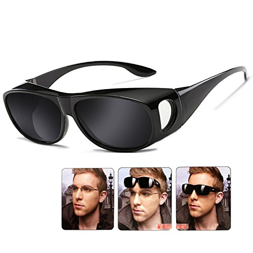 Wear Over sunglasses for men women Polarized lens,fit over Prescription Glasses UV400 (A-black, - Sunglasses Polarized Over Glasses