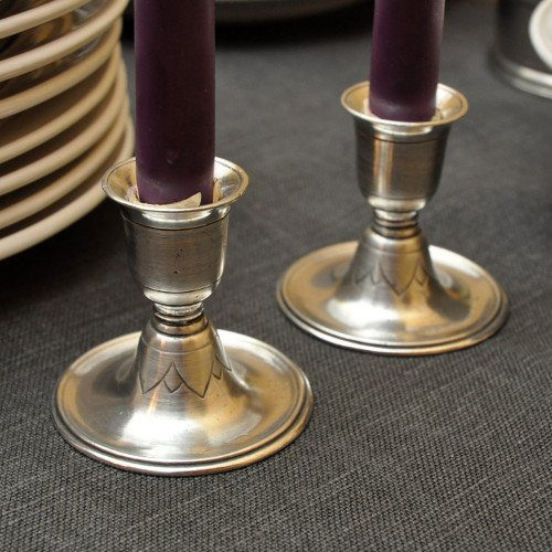 Match Pewter Short Candlesticks 2.8'', Pair #1015.0 Made in Italy by Match Pewter