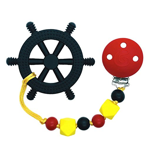 Gumbaby 'Yacht Rocker' Teething Toy w/Beaded Pacifier Clip (Maryland Flag - Black, Red & Yellow) -