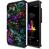 FINCIBO Blade Z Max Z982 Case, Dual Layer Hard Back Hybrid Protector Cover Anti Shock TPU Skin For ZTE Blade Z Max Z982/Sequoia - Purple Green Galaxy Marble