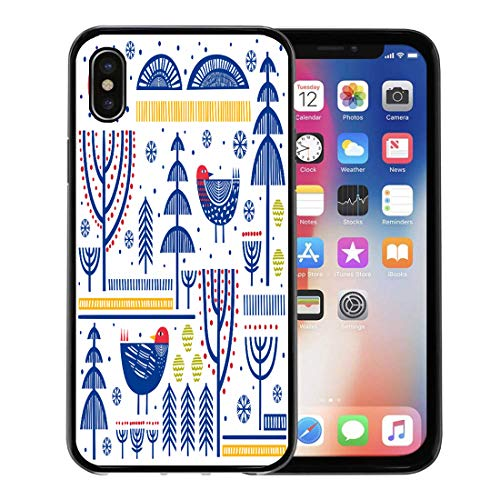 - Semtomn Phone Case for Apple iPhone Xs case,Danish Folk Pattern in Scandinavian Nordic Finnish Birds Geometric for iPhone X Case,Rubber Border Protective Case,Black
