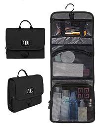 BAGSMART Compact Travel Toiletry Bags Hanging Bathroom Bag Portable Toiletry Kit Clear Cosmetic Makeup Bag Case Organizer-Black