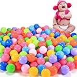 Slaxry 100Pcs Colorful 2.16 inch Soft Plastic Ocean Ball Safty Fun Ball Secure Baby Kid Toys Swim Pit Toy