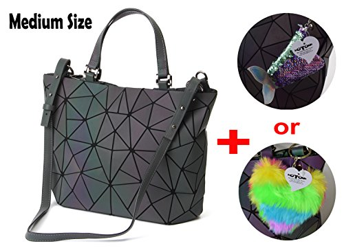 HotOne Geometric Luminous Purses and Handbags Shard Lattice Eco-friendly Leather Holographic Purse(Luminous)