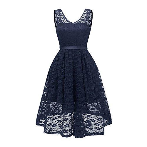 Damen Elegante Backless Brautjungfer Kleid Lace Floral Cocktailkleider mit  hinter Bowknot Marine nAydEE 09008b3939
