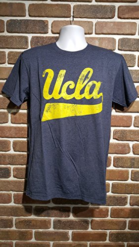 - E5 UCLA Triblend TEE Shirt Navy with Yellow Script DISRESSED Logo and Bear Head in The Back (Medium)