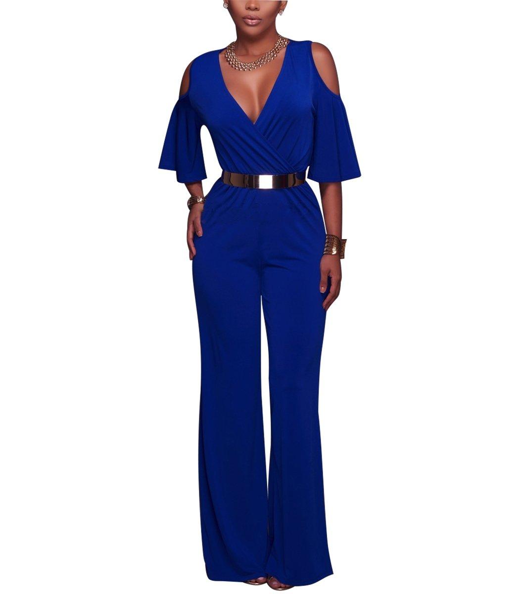 Vilover Women's Cold Shoulder Loose Wide Leg Jumpsuits Rompers With Belt (XL, Blue)