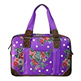 Miss Lulu Women's Oilcloth Travel Bag Floral Polka Dot Design (Purple L1106F PE)