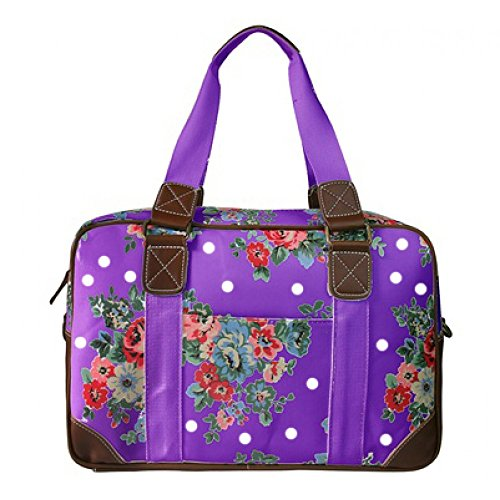 Miss Lulu Women's Oilcloth Travel Bag Floral Polka Dot Design (Purple L1106F PE)