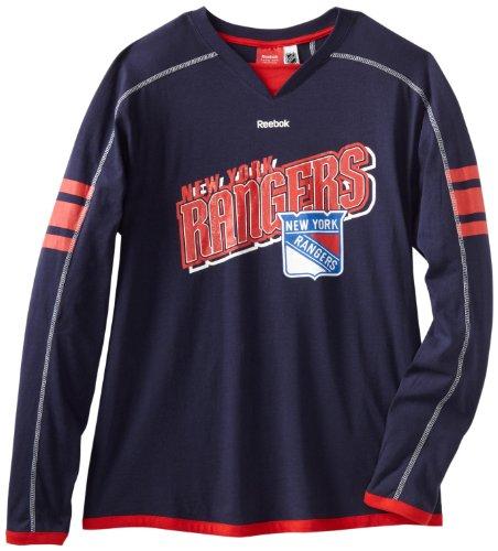 NHL New York Rangers Long Sleeve Jersey T-Shirt, Large -  Reebok, 982035