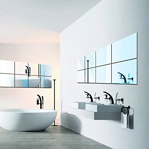 ITTA 16pcs Decorative Self-Adhesive Tiles Mirror Wall Stickers DIY Mirror Home Decor for $<!--$11.99-->