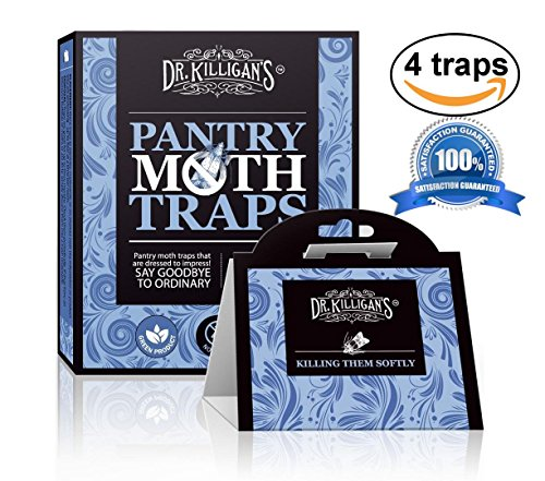 Premium Pantry Moth Traps (4 Blue Traps) With Pheromone Attractant | 100% Safe, Non-Toxic, Organic and Insecticide Free! | by Dr. Killigan's
