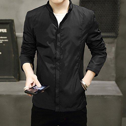 THWS Uomini giacca protettiva di colore puro Mock-collo camicia, nero ,abiti XL