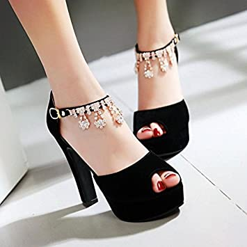 0d7d7fb26b7 GTVERNH Korean Water Drill High Heel Sandals Summer Sanding Suede Women  Shoes Rough Heel Sandals Female