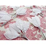 144-Poly-Silk-Leaf-4-Wire-Stem-Artificial-Floral-CraftLeaveswedding-H71-White-US-Seller-Ship-Fast
