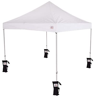 Impact 10' x 10' Pop Up Canopy Tent, Powder Coated Steel Frame, Includes 4 Weight Bags and Roller Bag, White : Garden & Outdoor