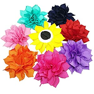 PET SHOW Dog Charms Flower Collar Accessories For Cat Puppy Collars Dogs Bowtie Grooming Pack of 8