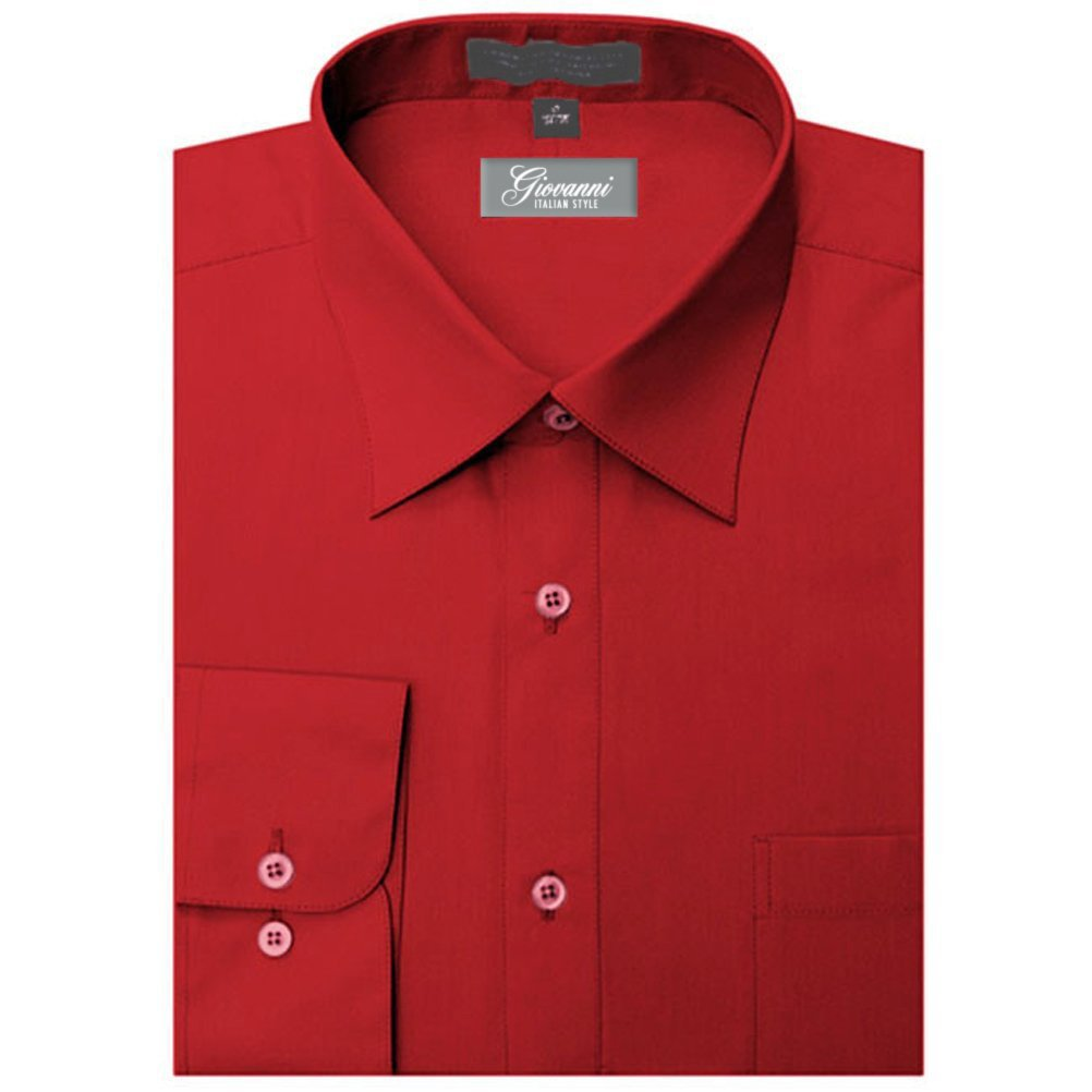 Giovanni Mens Apple Red Convertible Cuff Dress Shirt 18.5 L