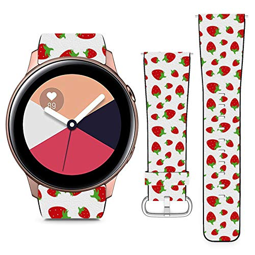 Compatible with Samsung Galaxy Watch Active // 20mm Leather Replacement Bracelet Strap Wristband with Quick Release Pins // Red Strawberries ()
